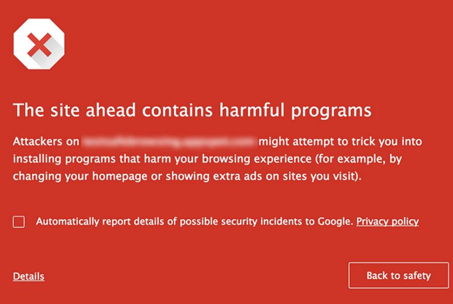 google warning message