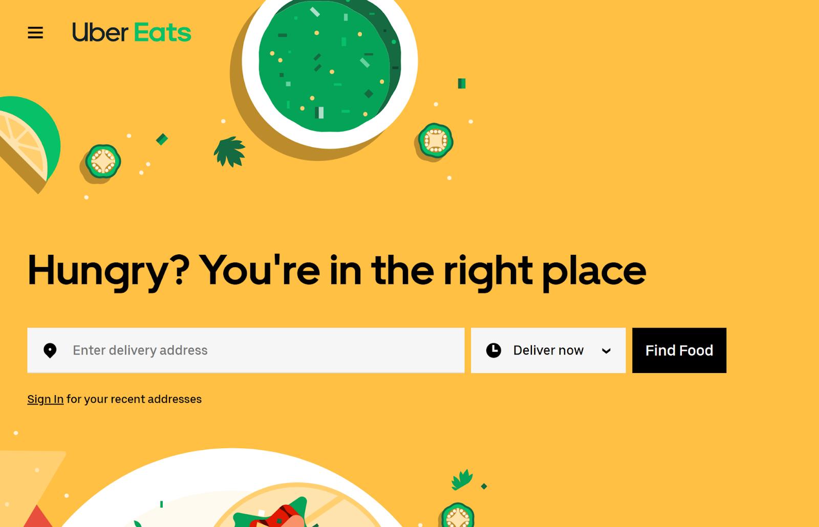 Uber Eats email marketing landing page