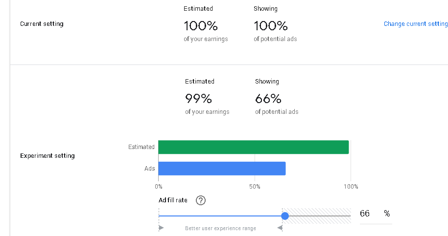 Ad balance settings in Google Adsense Experiments