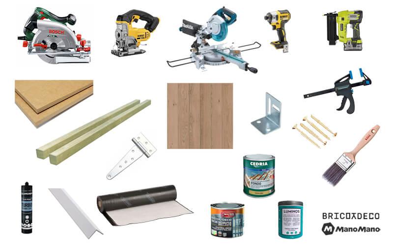 herramientas y materiales para hacer una caseta de terraza