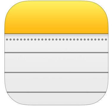 Image de l'icône de l'application Note dans le ipad
