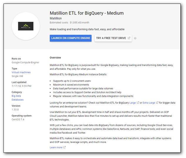 Launching Matillion ETL for BigQuery