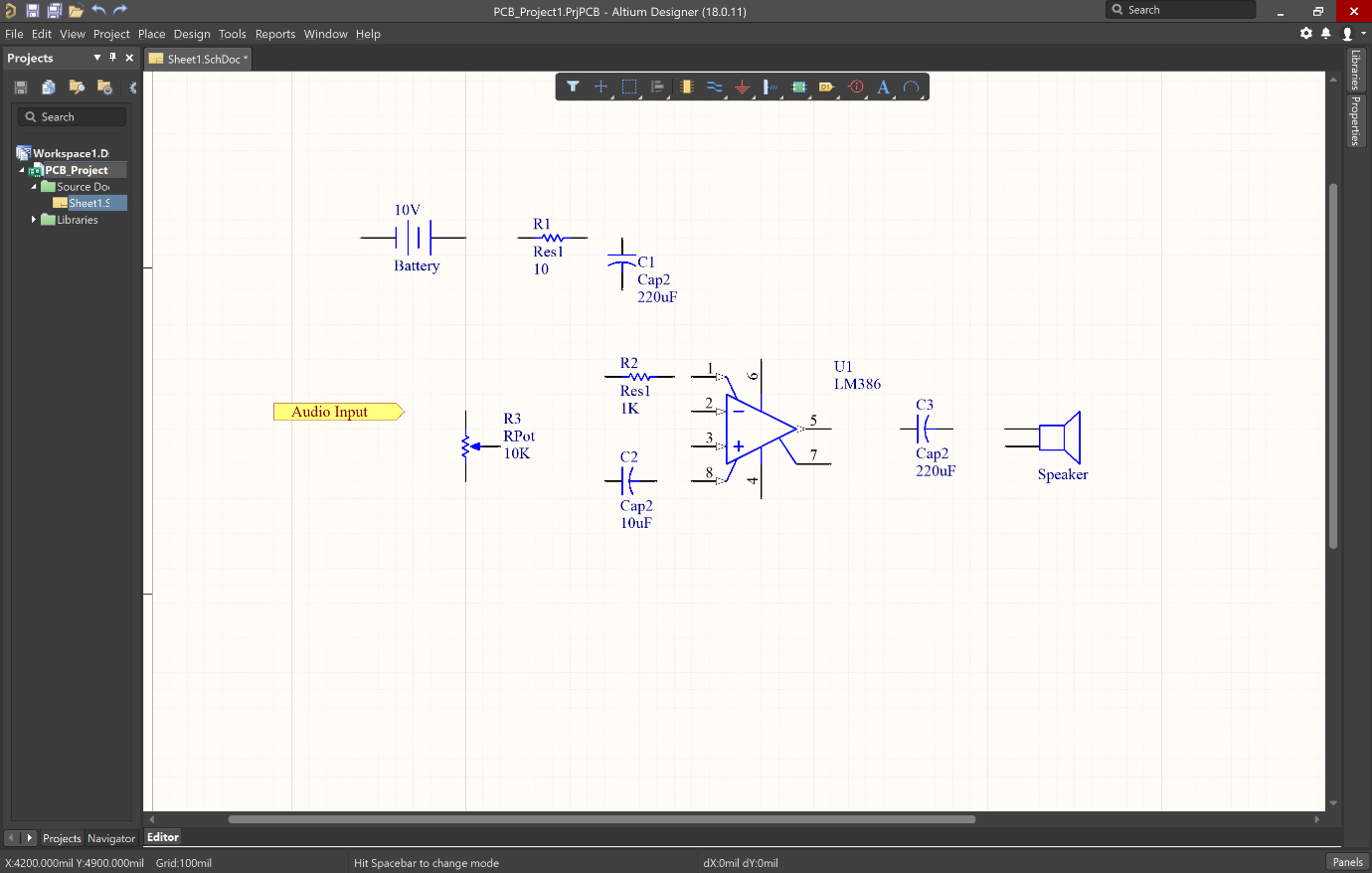Picture of reference port on schematic in Altium