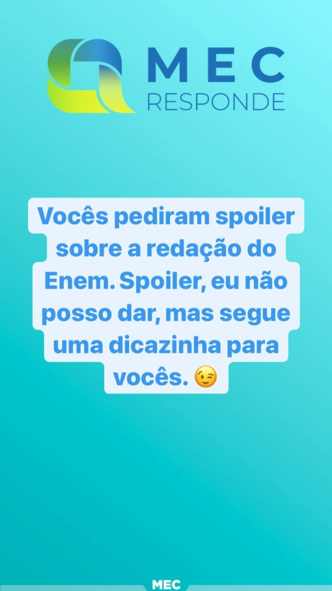 stories de spoiler do mec redação enem 2020