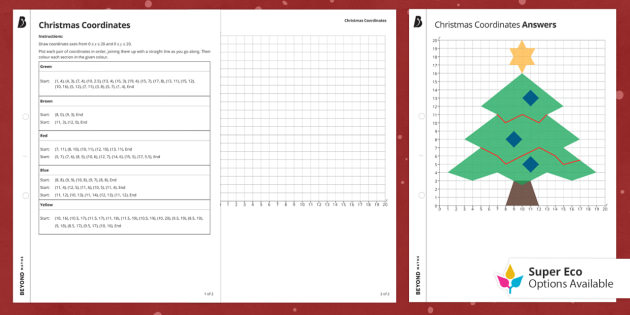 Coordinates Christmas Tree Worksheet