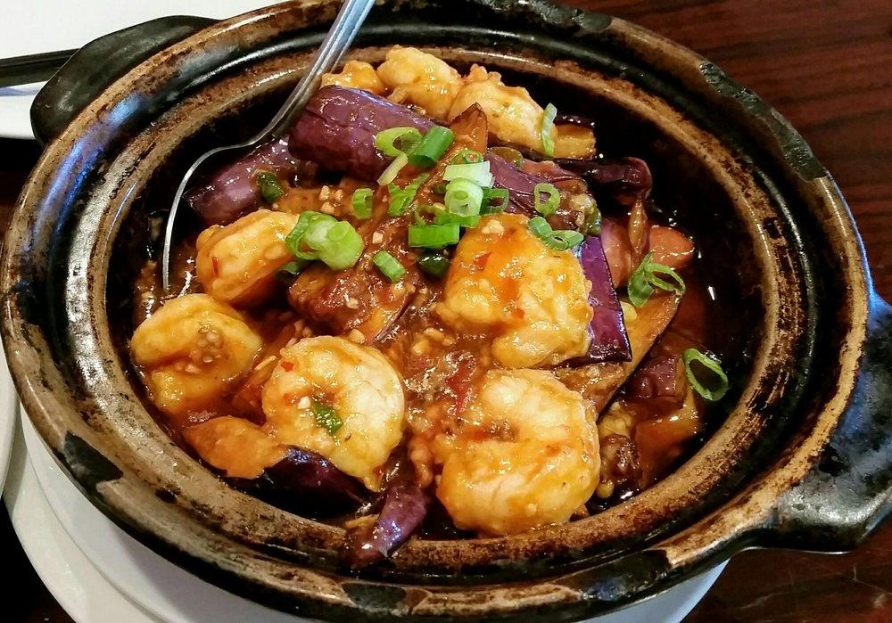 Photo of Sichuan House - Walnut Creek, CA, United States. Spicy eggplant with prawns. Â Delicious, and not too spicy. They are happy to adjust the spice level to your liking.