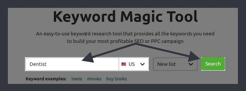 SEMRush-Type Keyword & Choose Location
