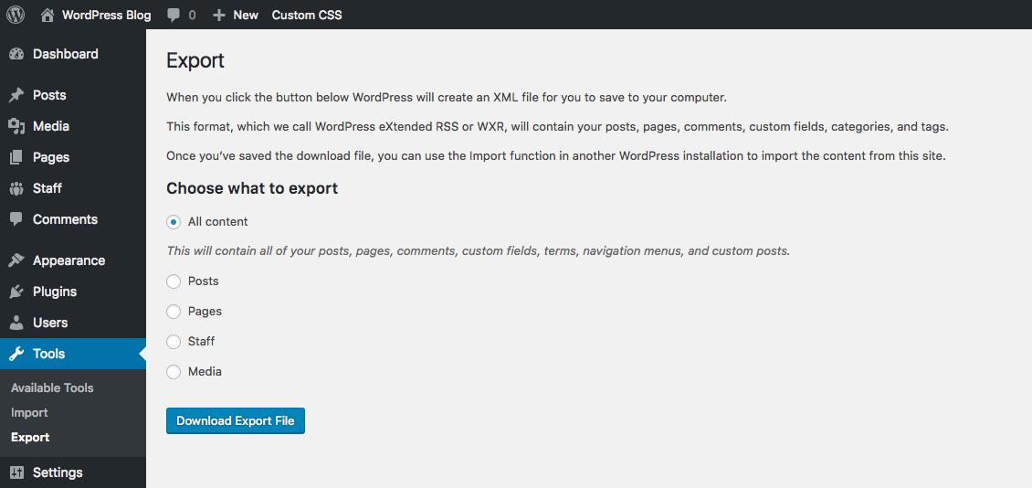 Tải xuống tệp xuất WordPress