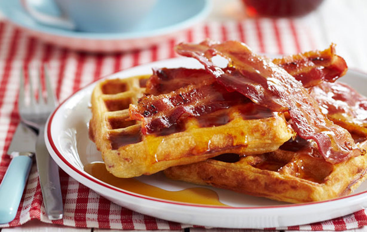 James Martin's Bacon Waffles With Maple Syrup | Breakfast Recipes |  GoodtoKnow