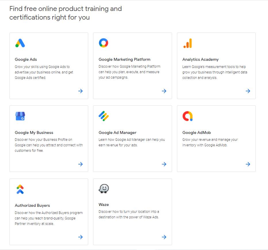 Courses offered in Google Skillshop