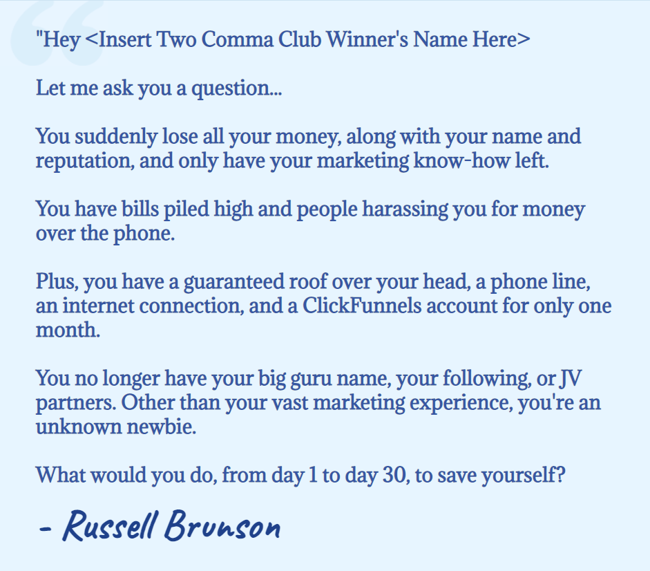 An email Russell Brunson wrote to ask for participants into the Clickfunnels 30-Day Summit