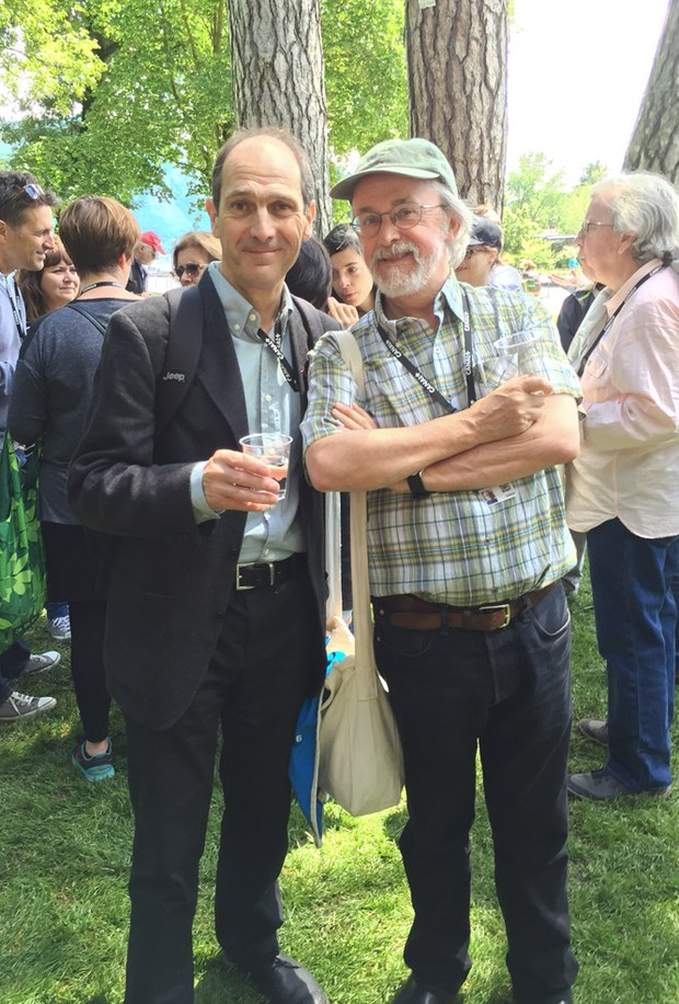 David Sproxton and Peter Lord at the Dreamworks picnic