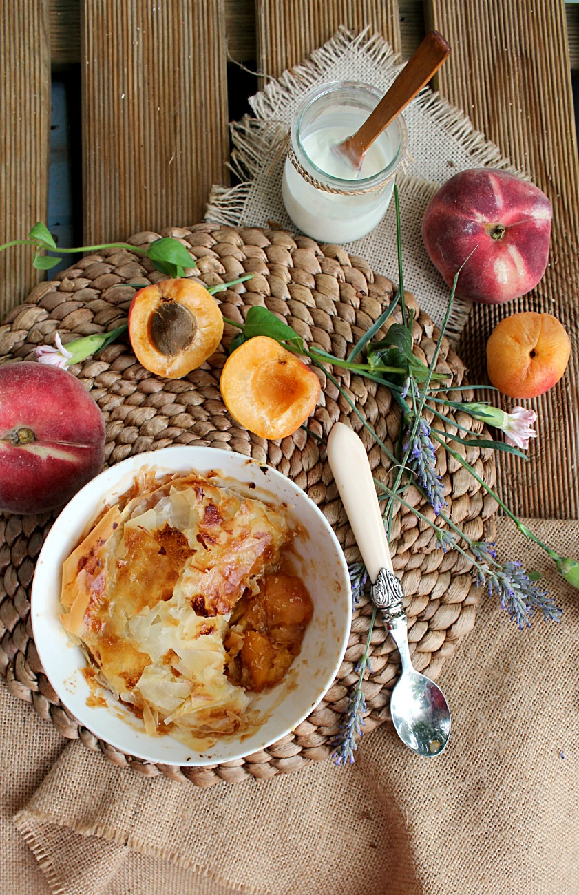 Coconut Peach Phyllo Cobbler: made in just 15 minutes, vegan and healthy too! This is the ultimate summer dessert!