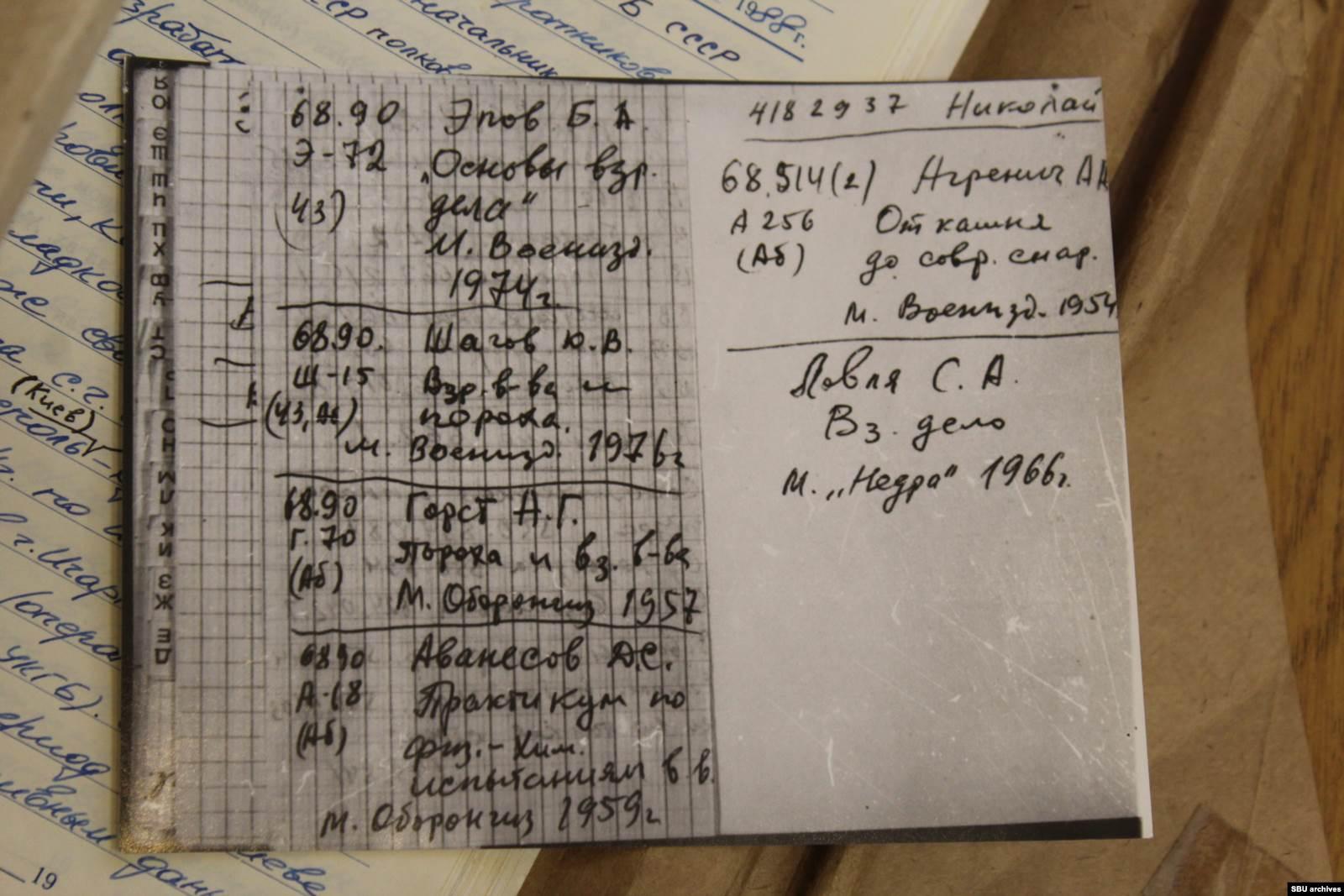 Выписки Василия Гриба со списком литературы из материалов дела КГБ