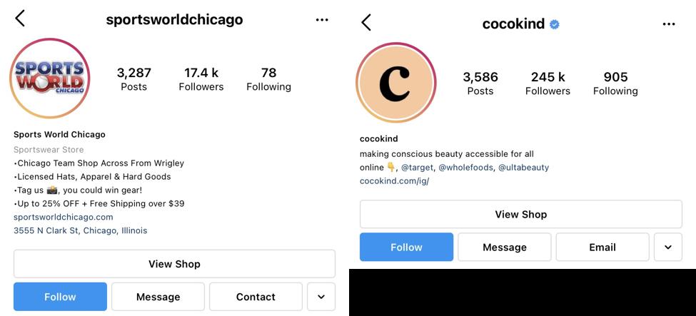 Bio na Instagramie - zrzuty ekranu