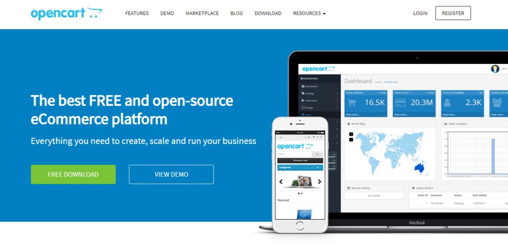 página inicial do site do opencart