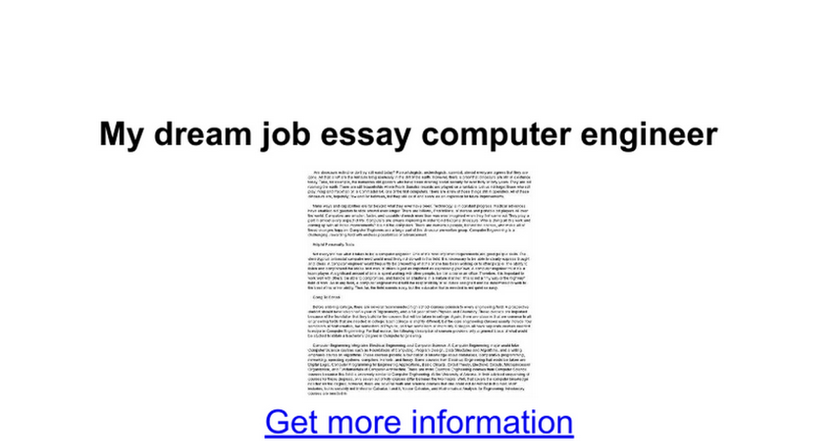 Essay my aim computer engineer