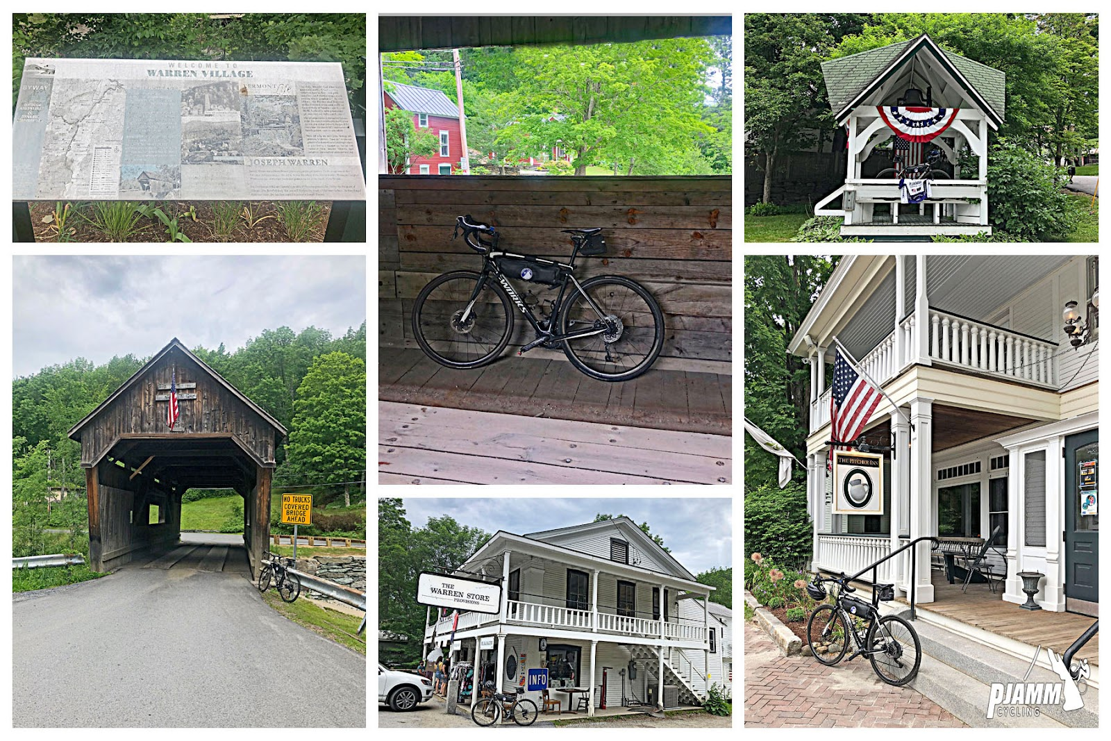 Cycling Lincoln Gap East - photo collage, Warren Village visitor's informational sign, bike propped against wooden wall of covered bridge with red building in background amidst greenery, small white gazebo with patriotic decoration, front of wooden covered bridge with American flag hanging from it, white two story building with The Warren Store sign, bike propped against deck of The Warren Store