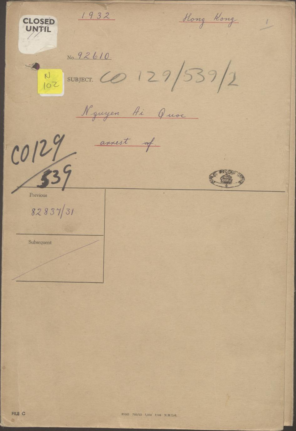 Trang bìa hồ sơ Nguyễn Ái Quốc của UK National Archives.jpg