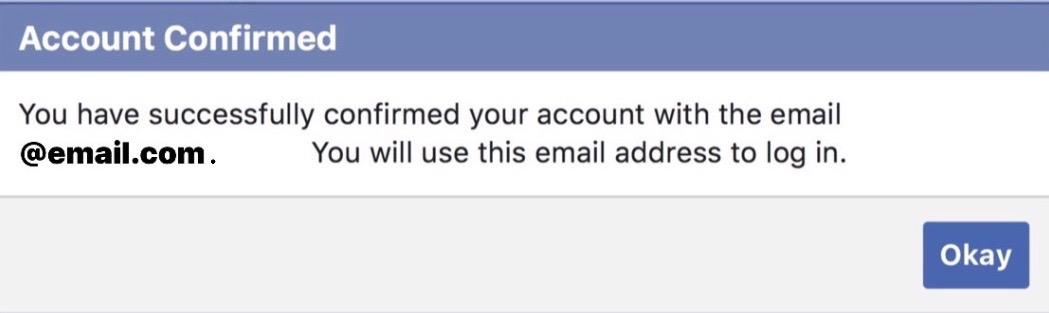 Facebook Account Confirmed
