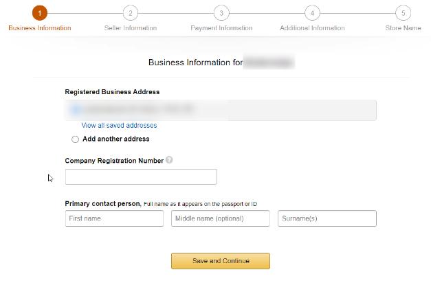 Ange företagsinformation för att sälja på Amazon