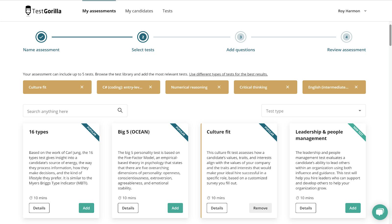 Diversity hiring tool screenshot