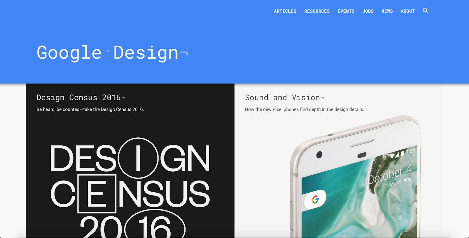 Google Design homepage