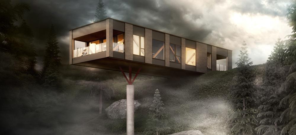 Et flott moderne hus som strekker seg utfor en klippe, moment hus, funkishus, bygg hus, husbygging, bygg hus i Askøy