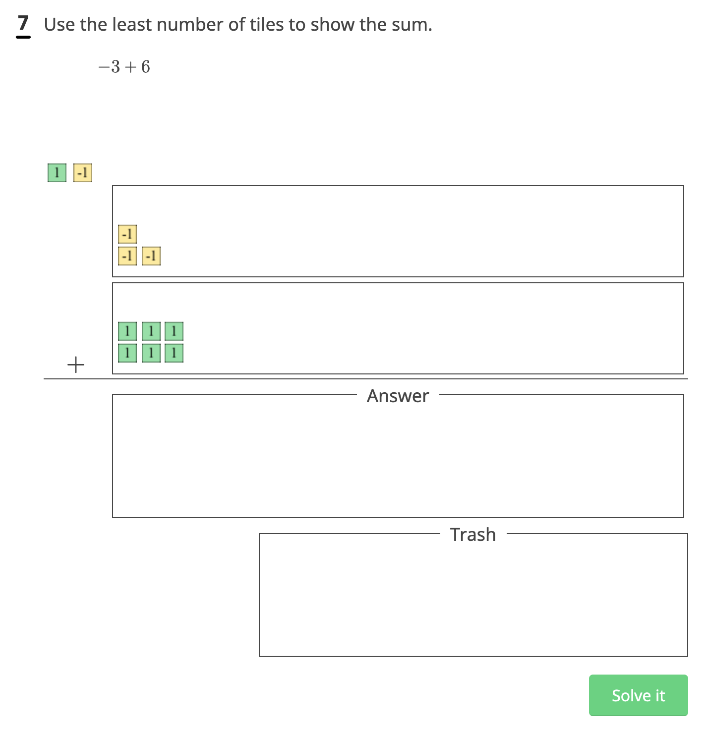 """Image of drag and drop question type which says """"Use the least number of tiles to show the sum."""""""
