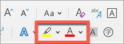 The Microsoft Word Text Highlight Color and Font Color buttons, found in the Home ribbon.