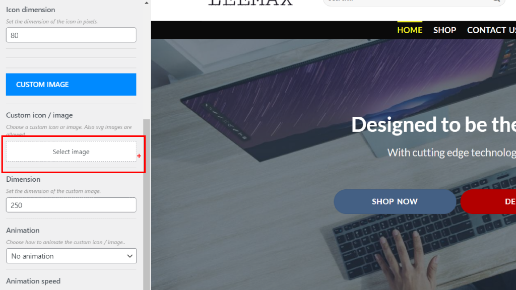 select custom image