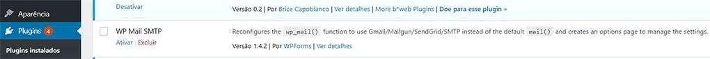 seleção das configurações do plugin wp mail smtp