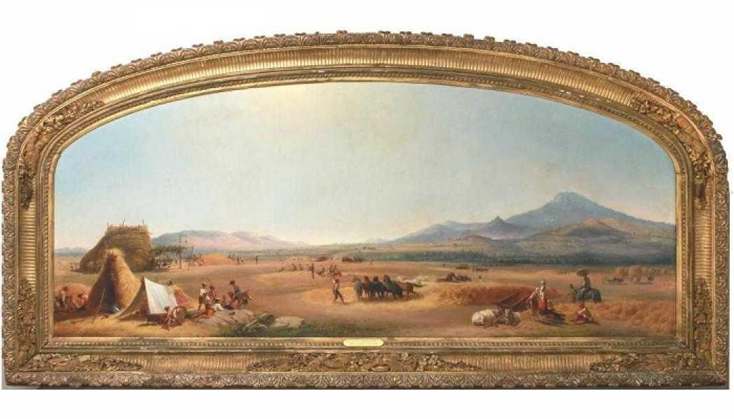 """John Gadsby Chapman (American, 1808-1890) """"Harvest on the Roman Compagna"""" oil paiting Hugh Hardy estate auction March 2019"""