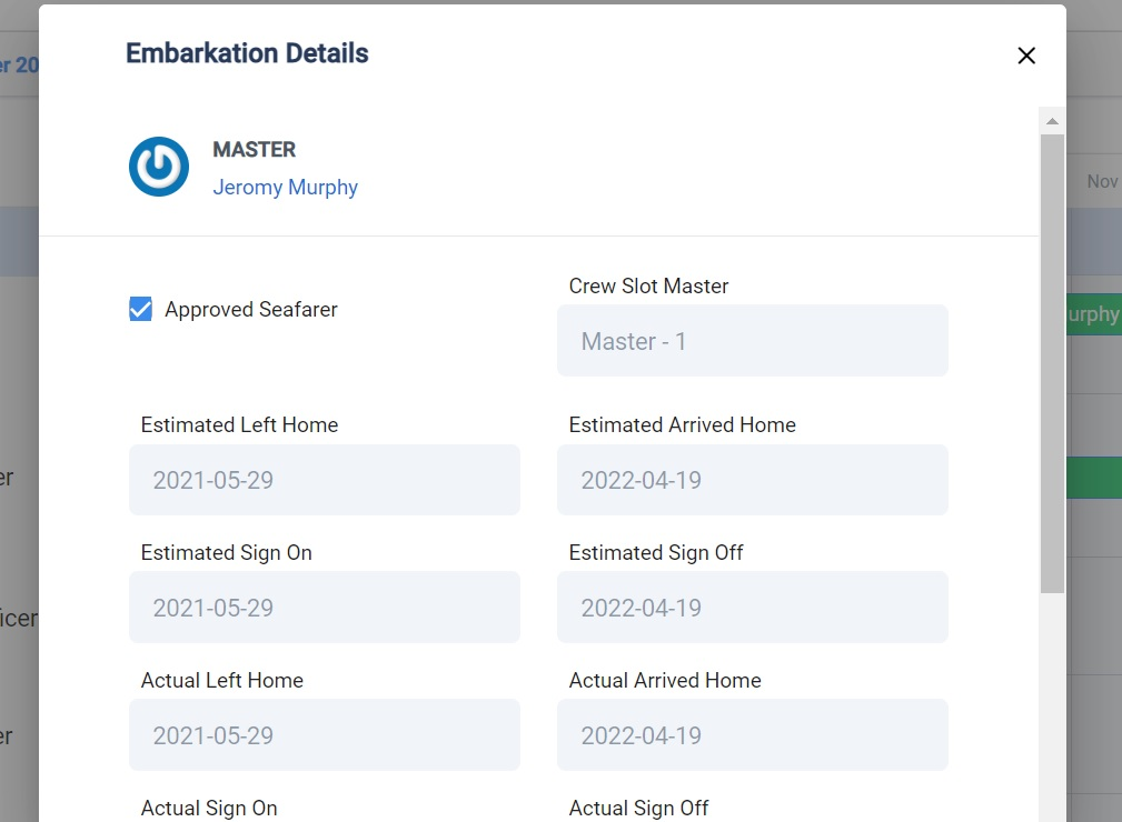 screenshot of Martide's maritime recruitment software showing  the embarkation pop-up box