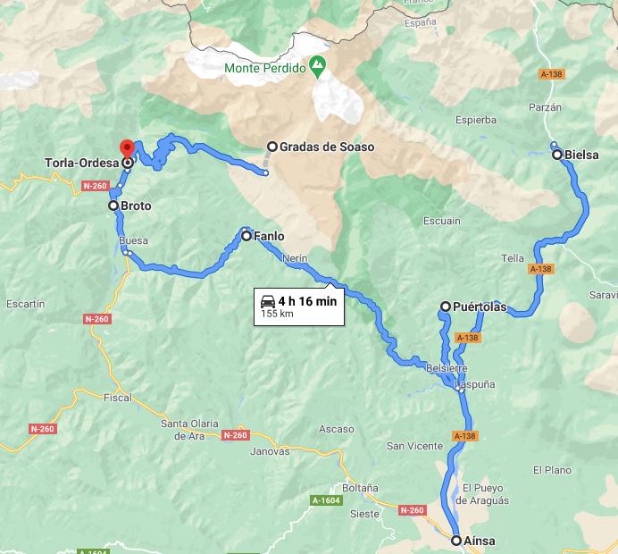 Mapa ruta en coche por los pueblos del Parque Nacional de Ordesa