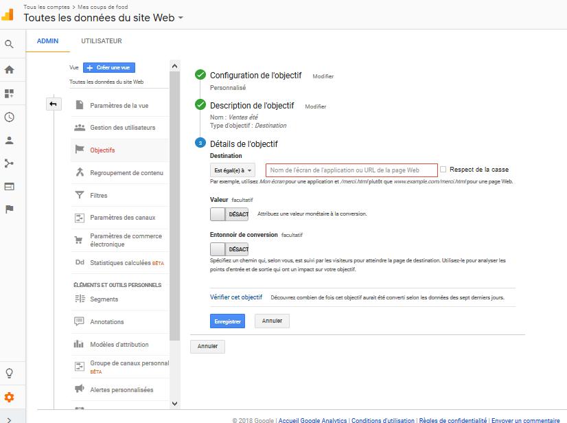 Image paramètrer compte Google Analytics