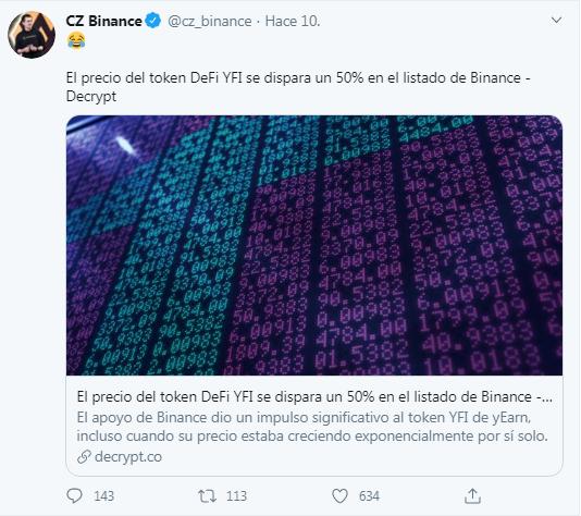 Tweet de Chagpeng Zhao hablando de la subida de YFI tras su integración en Binance. Fuente: Twitter