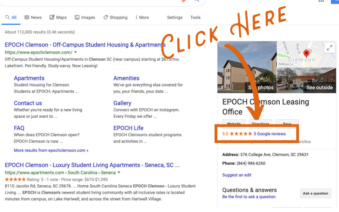 Screen shot on how to check Google reviews for apartments in Clemson