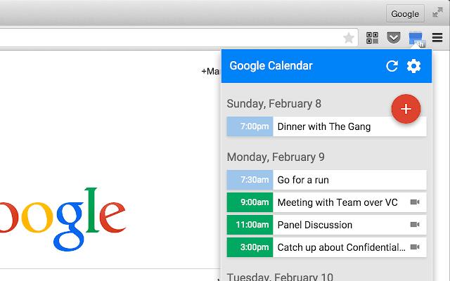 Google Calendar (by Google) chrome extension