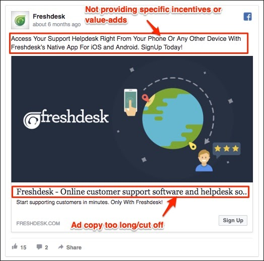 An old Facebook ad from Freshdesk with copy that's too long and cut off. Also not providing specific incentives of value-adds.