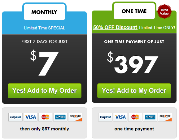 Coffe offer with higher price used used for a software, alongside other payment options.