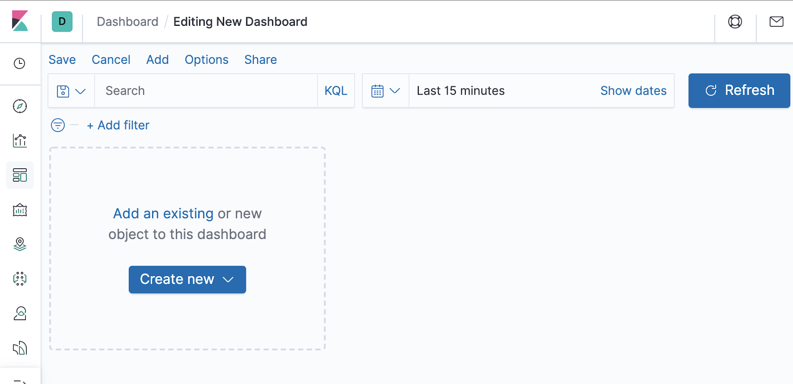 Initial view of the empty Kibana dashboard