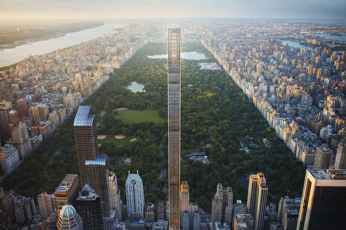 La torre Steinway tiene una altura de 435 metros y 84 pisos. Se caracteriza por ser el rascacielos residencial más estrecho del planeta (24 veces más alto que ancho).