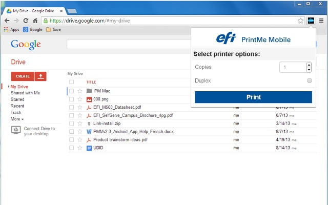 PrintMe Mobile chrome extension