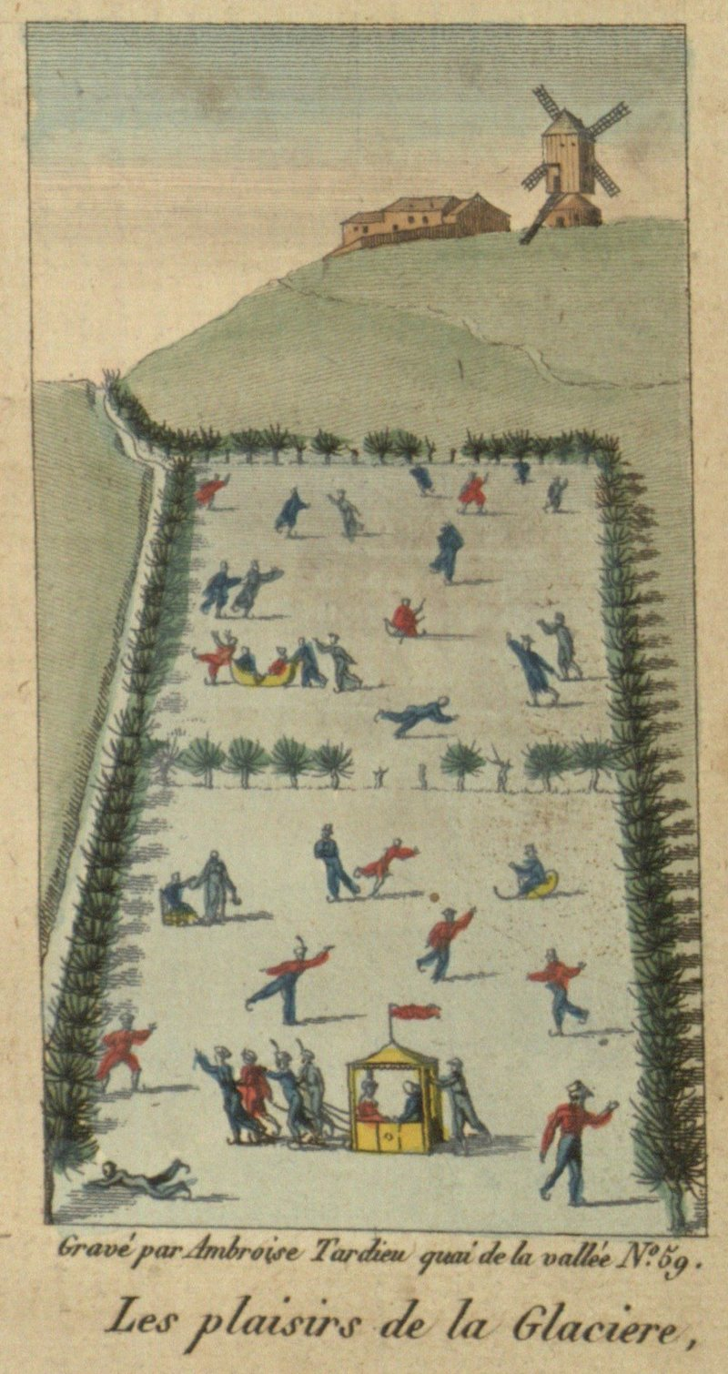 The wintery scene at La Glaciére, from Jean Garcin's <em>Le vrai patineur</em>.