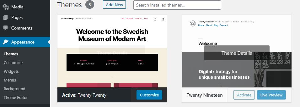 Install a WordPress theme