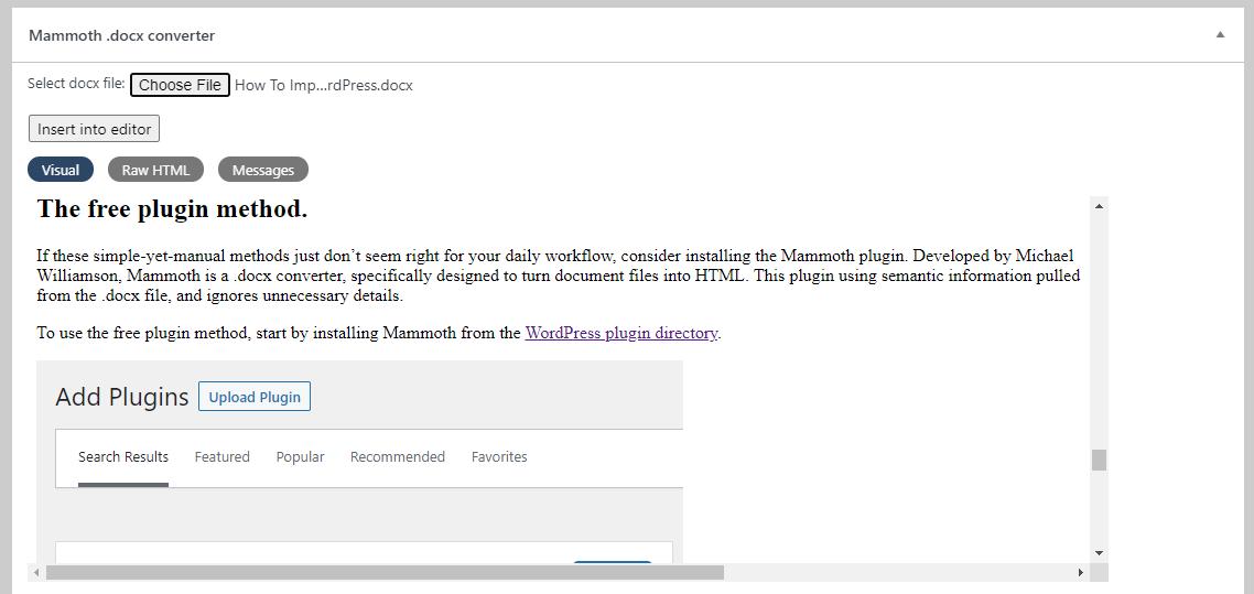A screen shot from the Mammoth plugin in WordPress.
