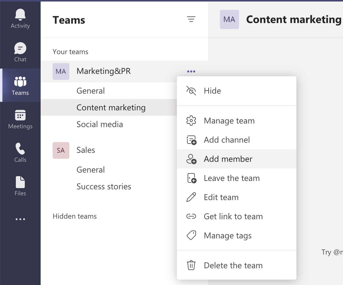 Add members to a team on MS Teams