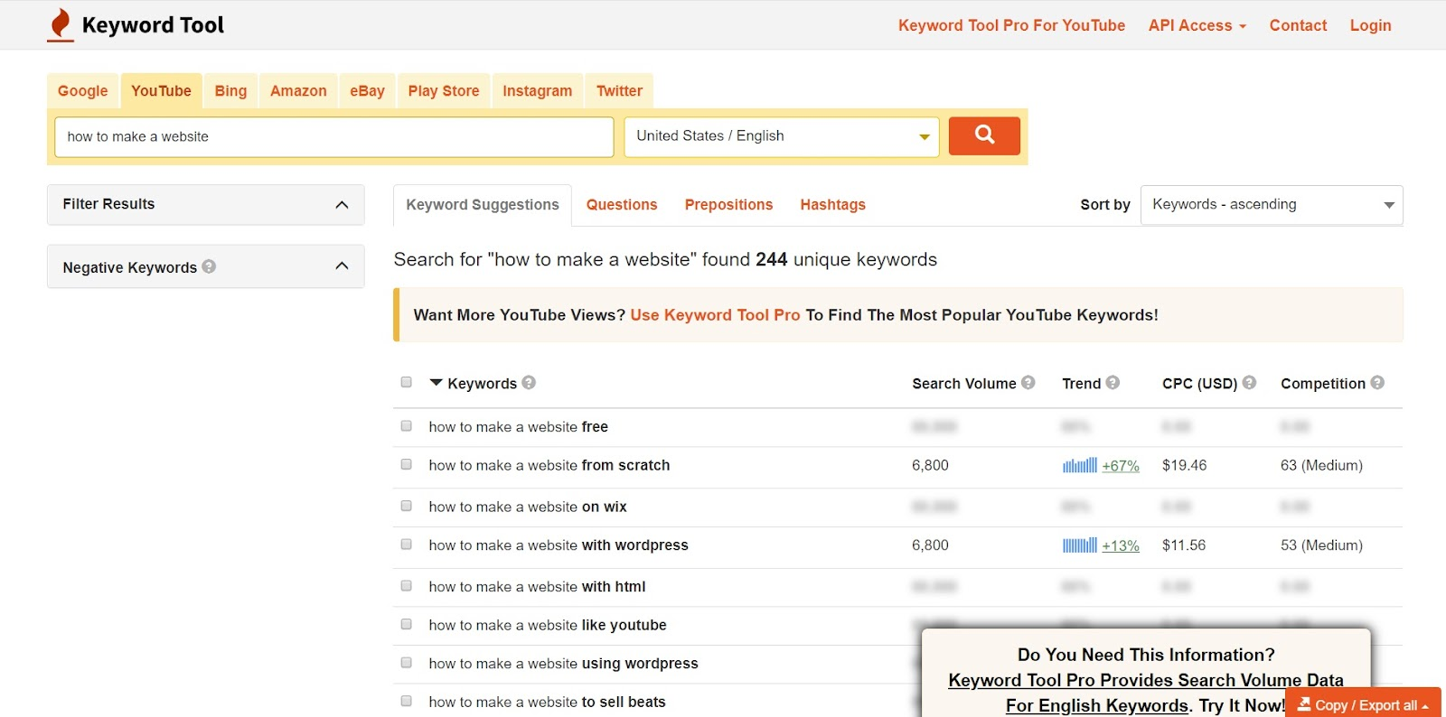 Screenshot of a Youtube keyword research tool.