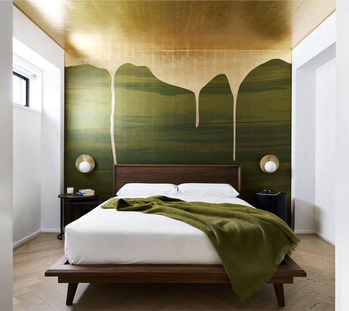 A Look of High-end Luxe with Gold and Green Bedroom